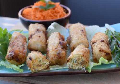 Vietnamese chicken spring rolls